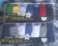 Boys Briefs 100% Cotton Multi 7 Pack Plain Pants Age 2-3, 3-4, 5-6 & 7-8 yrs