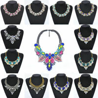 Chain Fashion Statement Choker Bib Pendant Women Crystal Flower Chunky Necklace