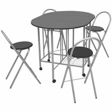 5-piece Folding Dining Set 1 Table and 4 Chair Kitchen Oval Extending MDF Black