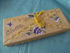 Hand Painted VIOLETS Antique Ladies GLOVE Box~Frosted Paper Lashed w/Ribbon