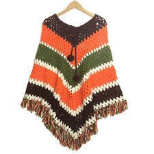 Vintage Poncho Handmade Crochet Knitted Striped Afghan Wrap Shawl w/ Fringe