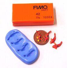 1:12th 4 Koi Carp Silicon Rubber Mold & 25g Of Clay Dolls House Miniature Fish
