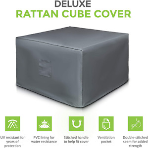 LIVIVO Deluxe Extra Heavy Duty Waterproof Rattan Cube Set Cover with PVC Lining,