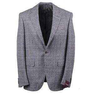 Sartoria Partenopea Blue and White Glen Check Wool Sport Coat 44R (Eu 54)