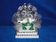 New 25th Wedding Anniversary decor caketopper with Love Doves in Silver