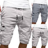 Herren Sweatshorts Cargo Shorts Kurze Hosen Sommer Knielang Bermuda Sporthose