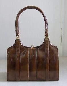 Delightful Genuine Vintage Tortoiseshell / Brown Hue Patent Leather Handbag