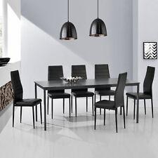Esstisch + 6 Stühle grau/schwarz 160x80cm Küchentisch Esszimmertisch