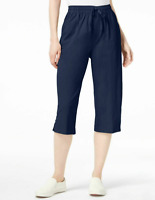 Karen Scott Womens Cotton Drawstring Pull On Capri Pants Intrepid Blue Sz XS