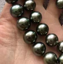 "18""13-16mm natural tahitian black green pearl necklace 14k"