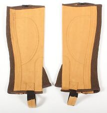 WOMEN SMALL BROWN TAN SUEDE LEATHER ENGLISH RIDING HALF CHAPS HORSE APPAREL