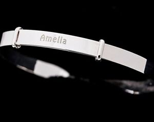 925 Sterling Silver Personalised Guardian Angel Expanding Bangle 11 letters