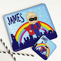 SUPERHERO Childrens Placemat & Coaster Personalised Wooden Wipeable Table Mat