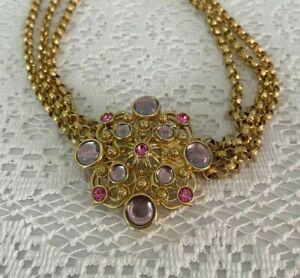 "Jose Barrera for Avon "" Marbella "" necklace, lavender cabochons, pink rhinestone"