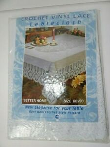 """Vintage Better Home White Vinyl Lace Crochet Tablecloth 60"""" x 90"""" New in Package"""