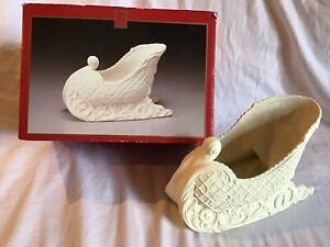 "MADISON AVENUE Bisque Christmas Sleigh Poinsettia & Doves Design 5 1/2"" Tall EUC"