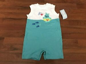 NWT Gymboree Infant Boys White & Teal Swimming Hippo Jumper Size 12-18 months