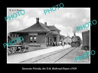 OLD LARGE HISTORIC PHOTO OF SARASOTA FLORIDA, THE RAILROAD DEPOT STATION c1920