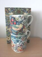 Spode Morris & Co Strawberry Thief Stacking Mugs Set of 2 Porcelain 280ml Boxed