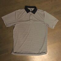 Footjoy FJ Golf Polo Shirt Short Sleeve Blue Striped Men's Size L Large