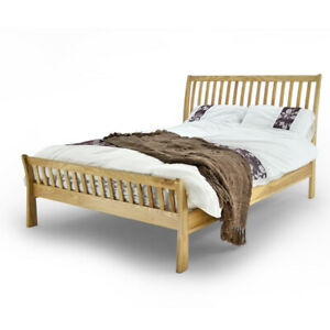 Sleigh Style Solid Oak Bed Frame 4FT6 Double or 5FT Kingsize || BMB