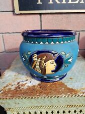 "Czechoslovakia 1920'a Egyptian Revival Amphora Vase Vessel Art Deco 5""x7"""
