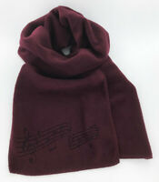 Burgundy Fleece Music Notes Winter Scarf, Laser Etched, Men's or Women's, Maroon