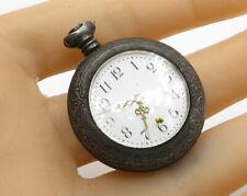Baroque Detail Pocket Watch T1094 925 Sterling Silver Vintage Antique Mechanical