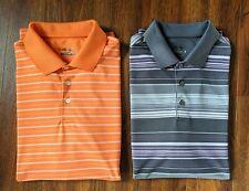 Walter Hagen Lot of 2 Hydro Dri Golf Shirts Orange White / Gray Purple Size L