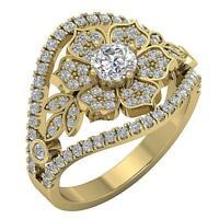 Designer Solitaire Anniversary Ring I1 G 1.50 Ct Natural Diamond 14K Yellow Gold