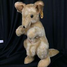 Vintage 100% Mohair Fur Kangaroo Character Brand Stuffed Animal Plush