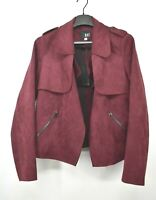 KUT Womens Burgundy Jacee Draped Moto Jacket Open Front Faux Suede Stretch L