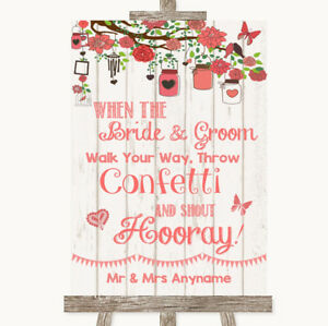 Wedding Sign Poster Print Coral Rustic Wood Confetti