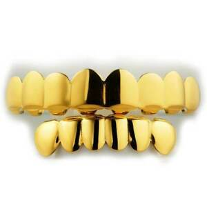 18K Gold Plated GRILLZ STAINLESS STEEL 8 Tooth Top 6 Bottom Hip Hop Mouth Grill