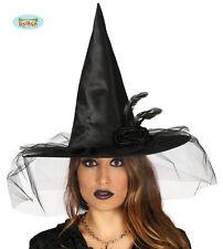 Cappello Nero Lusso Strega Sexy Donna Tulle Piume Halloween Deluxe Carnevale