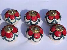 Boutons de porte céramique pour placard blanc rond avec fleur rouge vert (laiton
