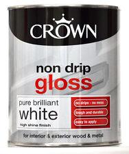 Crown Non Drip Gloss Paint Brilliant White Interior Exterior Wood Metal 750ml