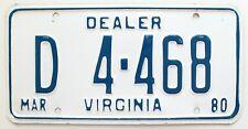 Virginia 1980 Dealer License Plate, D4-468, High Quality