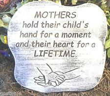 cement plaster concrete mold  Mothers hold  their child's hand plastic mould
