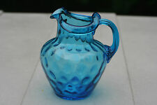 BEACON GLASS COMPANY Inverted Thumbprint Reeded PITCHER BLUE AUGUST HAUFBAUER