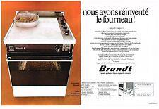 PUBLICITE  1972   BRANDT  cuisinière gazinière fourneau ( 2 pages)