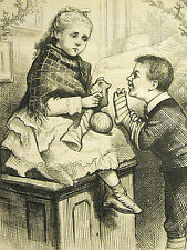 Thomas Nast CHRISTMAS STOCKINGS Hole Needs Sewing 1876 Antique Print Matted