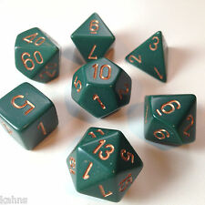 Chessex Dice Poly - Opaque Dusty Green w/ Gold -Set Of 7- 25415 - Free Bag!  DnD