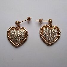 argento placcato oro rosa a Pavé zircone cubico forma di cuore Orecchini goccia