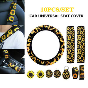 10PCS Sunflower Style Car+Steering Wheel Cover+Seat Belt&Armrest Pad Accessories