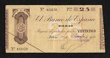 F.C. 25 PESETAS BANCO DE BILBAO 1936 , LIBRADO POR EL BANCO DEL COMERCIO , B/C+