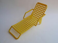 Vintage Yellow Plastic Doll Furniture Poolside Lounge Chair Chaise Retro Let 60s