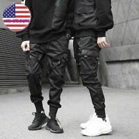 Mens Elastic Feet Joggers Street Pants Hip Hop Cargo Sweatpant Comfort Trousers