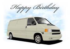 VW T4 Transporter  21st 40th 50th 60th Birthday Car Dad Greetings Card *WHITE*
