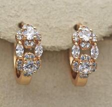 18K Gold Filled Earring Topaz Zircon Gemstone Flower Hollow Hoop Bride Prom DS